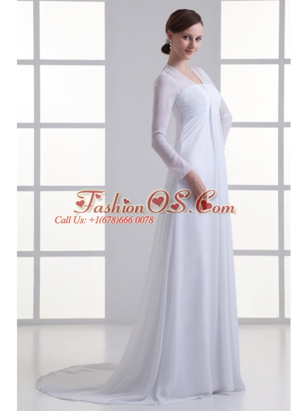 Empire Square Long Sleeves Brush Train Chiffon Wedding Dress