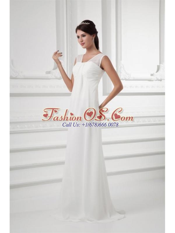 Empire Square Ruching Floor-length Chiffon Wedding Dress