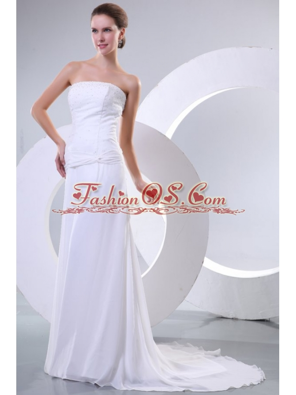 Empire Strapless Beaded Decorate Bodice Sweep Train Wedding Dress