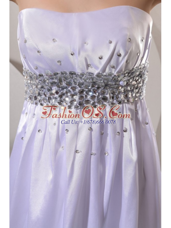Empire Strapless Beaded Decorate Wedding Dress with Sweep Train