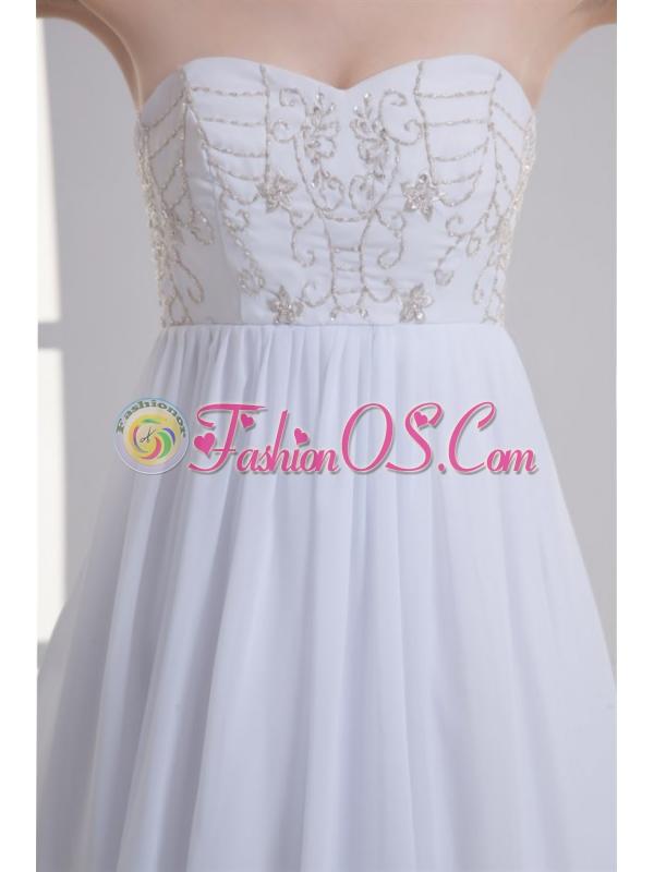 Empire Sweetheart Appliques Court Train Chiffon Wedding Dress