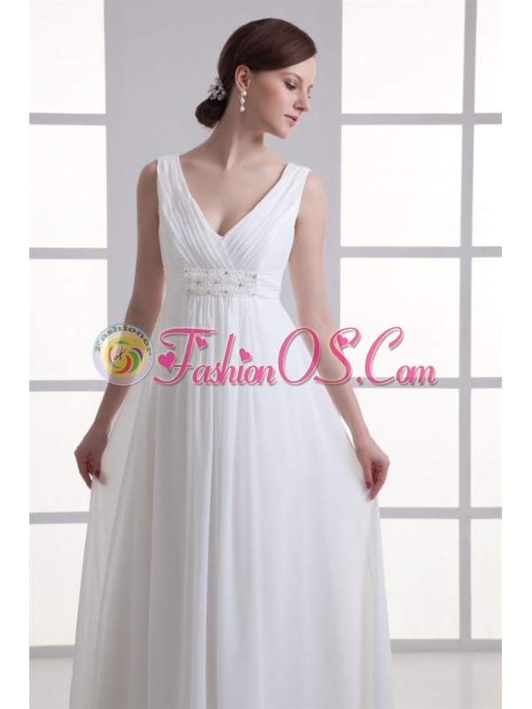 Empire V-neck Beading and Ruching Chiffon Wedding Dress
