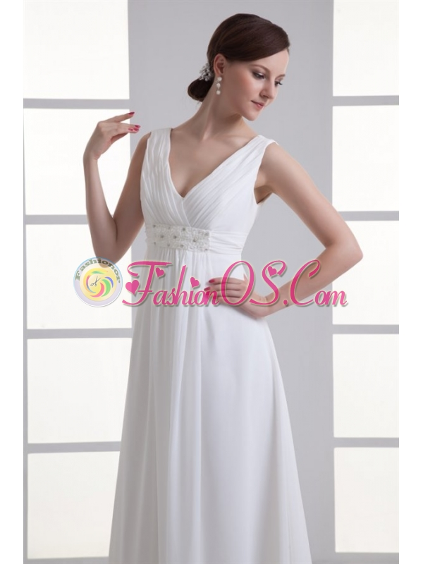 Empire V-neck Beading and Ruching Chiffon Wedding Dress