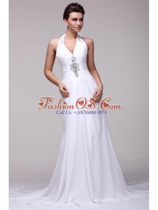 Halter Top Neck A-line Beading Taffeta Court Train Wedding Dress