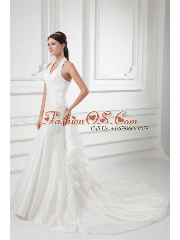 Mermaid Halter Top Appliques Ruching Satin Wedding Dress