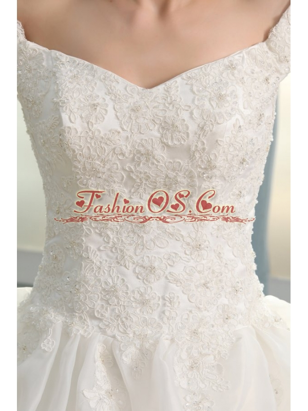 Off The Shoulder A-line Appliques and Pick-ups Organza Wedding Dress