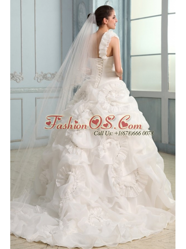One Shoulder Beading and Laciness Court Train Wedding Dress