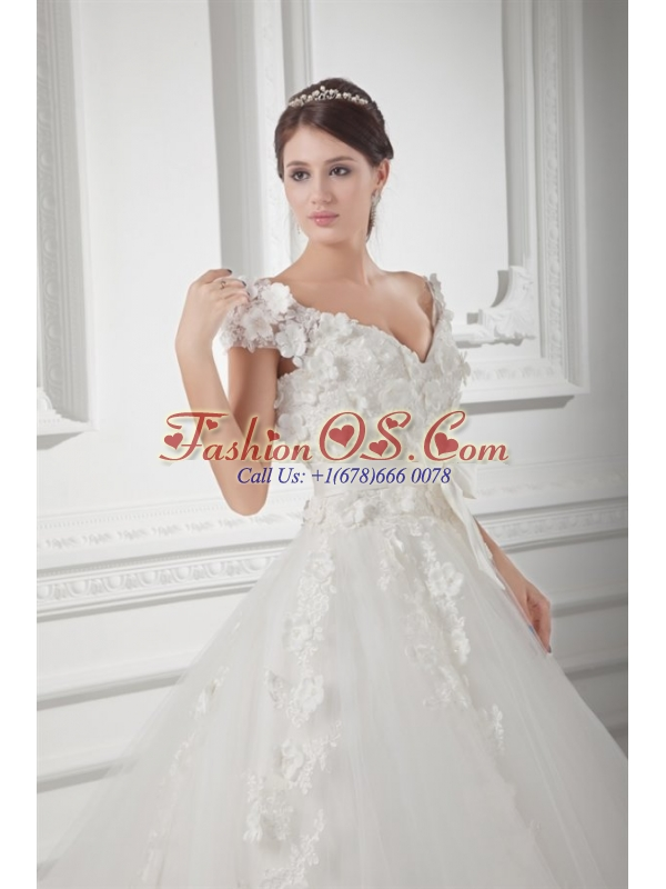 Romantic A-line V-neck Wedding Dress with Appliques and Embroidery