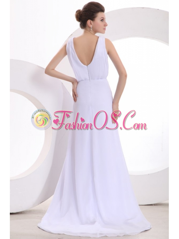 Scoop Empire Ruche Sweep Train Wedding Dress for Beach Wedding