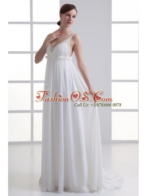 Sexy Empire V-neck Wedding Dress with Beading Brush Train