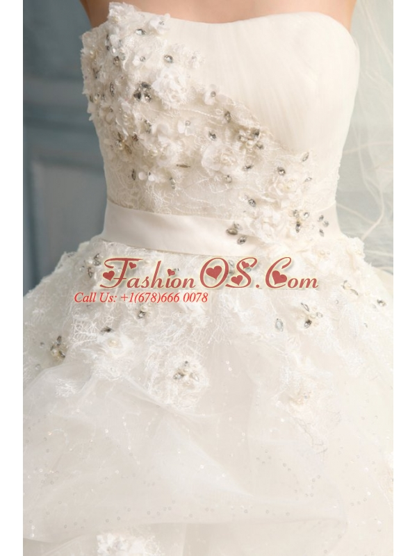 Strapless Ball Gown Appliques and Pick-ups Long Wedding Dress