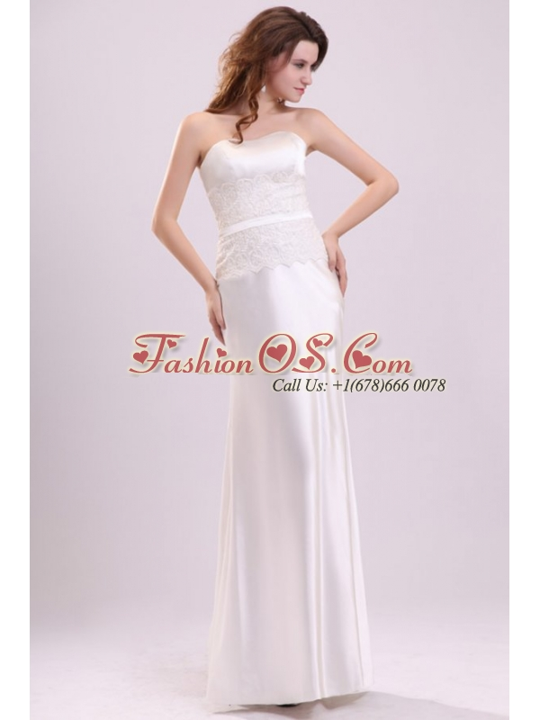 Strapless Column Appliques Decorate Bodice Floor-length Wedding Dress
