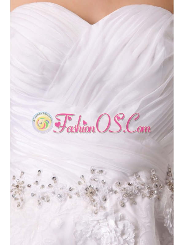 Sweetheart Hand Made Flowers and Beading Tea-length Wedding Dress