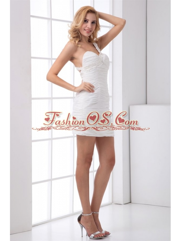 White Column One Shoulder Mini-length Wedding Dress with Appliques