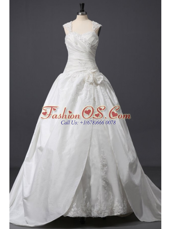Wide Straps A-line Appliques and Flowers Taffeta Wedding Dress