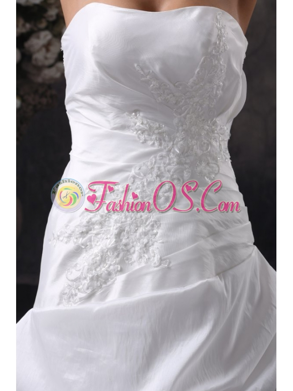 A-Line Strapless Court Train Appliques Taffeta Wedding Dress