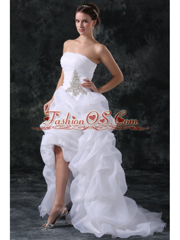 A-Line Strapless High-low Beading Organza Wedding Dress