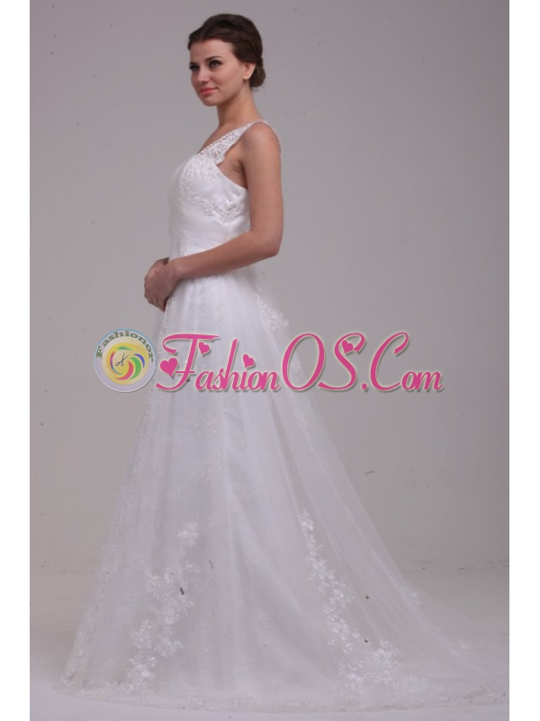 A-Line Straps Brush Train Appliques Tulle Wedding Dress