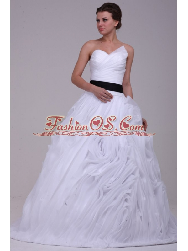 A-Line Straps Brush Train Ruching Organza Wedding Dress with Side Zipper