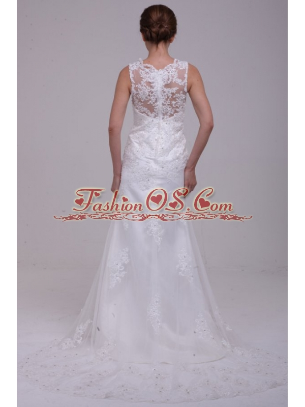 Column High Neck Appliques Lace Wedding Dress with Brush Train