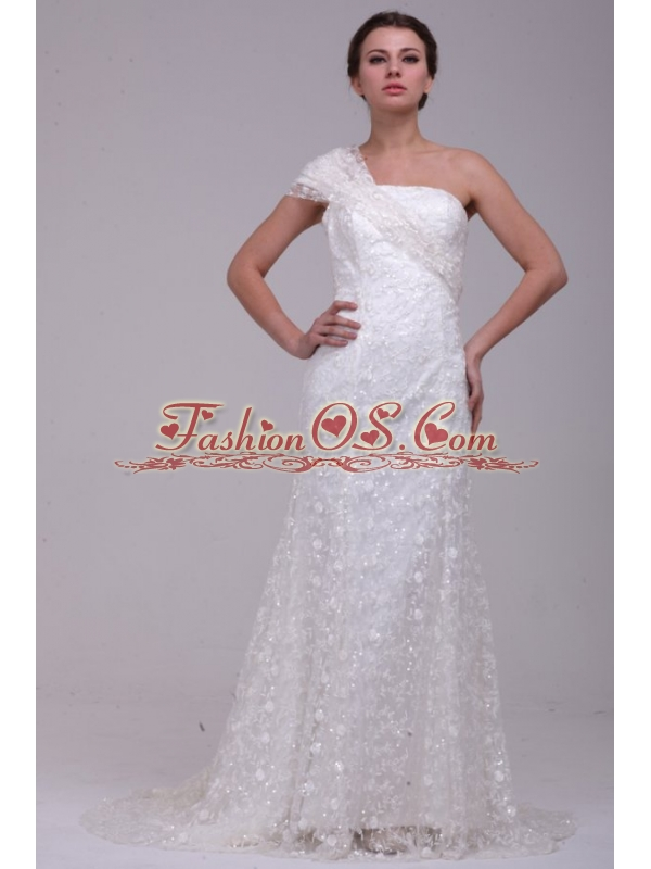 Column One Shoulder Lace Floor-length Paillette Wedding Dress with Side Zipper