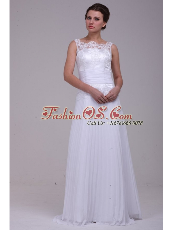 Column Scoop Brush Train Chiffon Wedding Dress with Lace