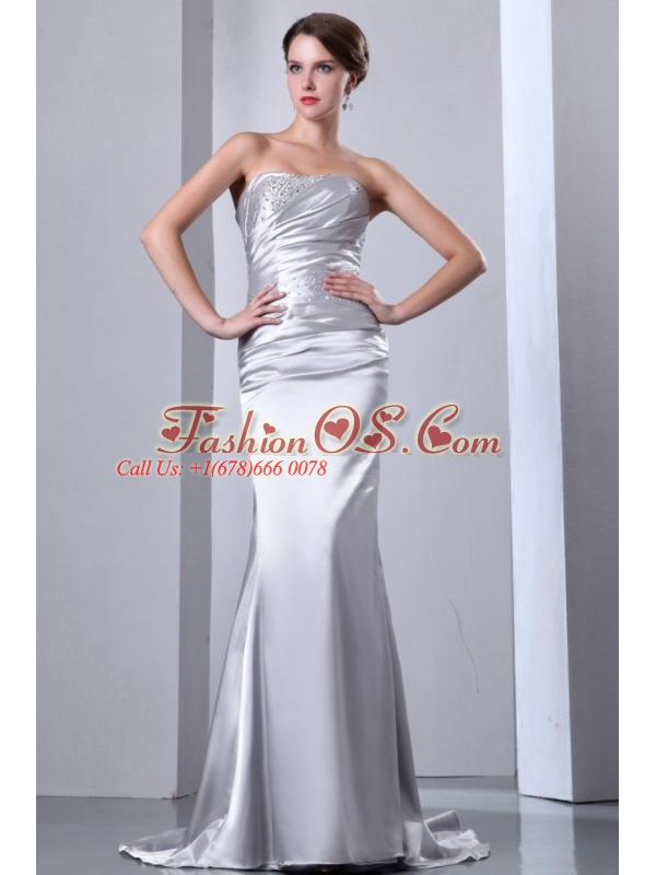 Column Strapless Silver Beading Ruching Brush Train Wedding Dress