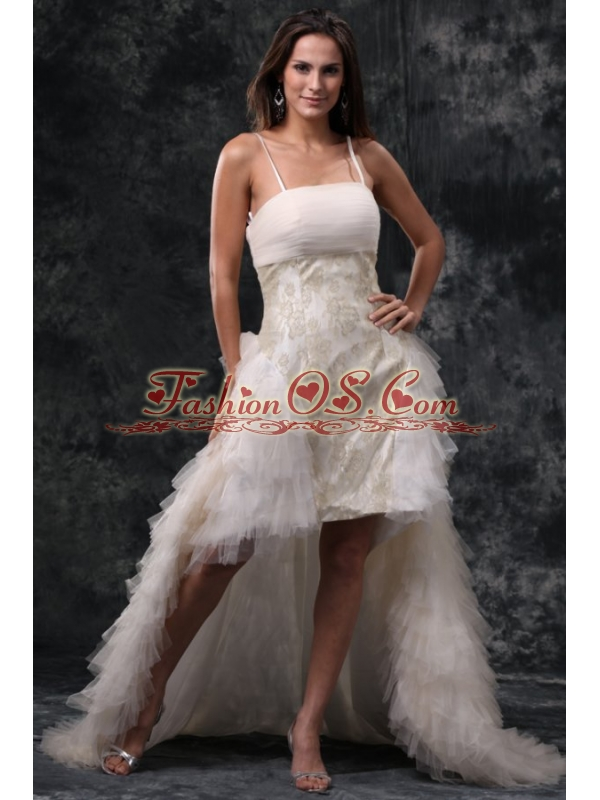 Column Straps High-low Beading Tulle Wedding Dress