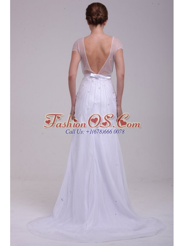 Column V-Neck Beading Brush Train Chiffon Wedding Dress