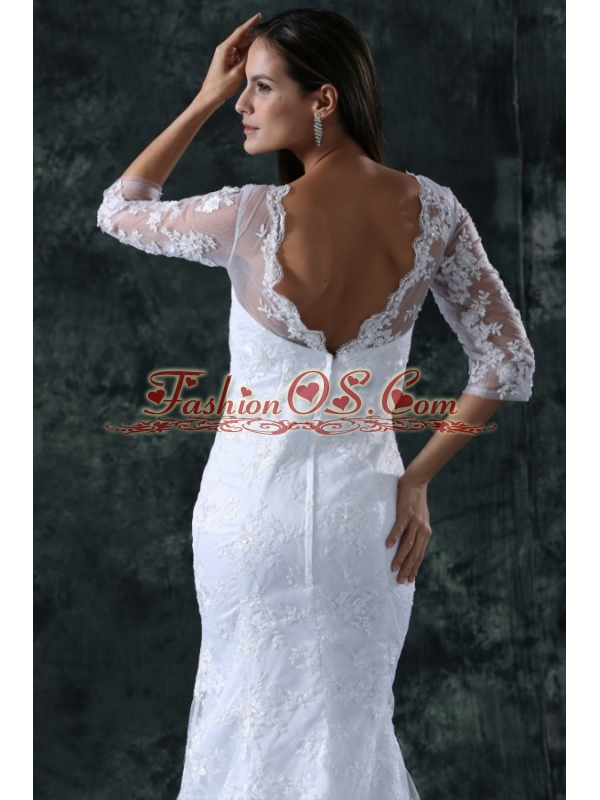 Column V-Neck Brush Train Appliques Lace Wedding Dress with Half Sleeves