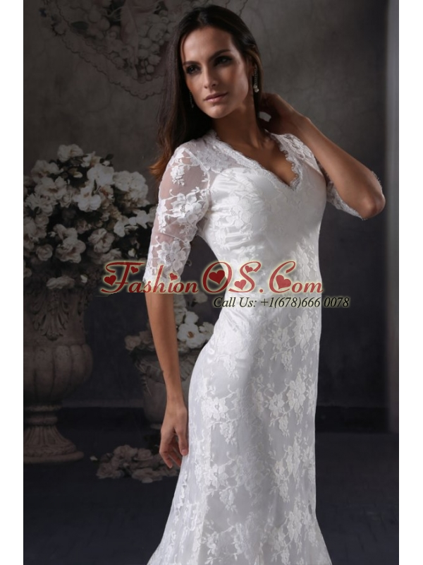 Column V-Neck Open Back Lace Wedding Dress with Court Train