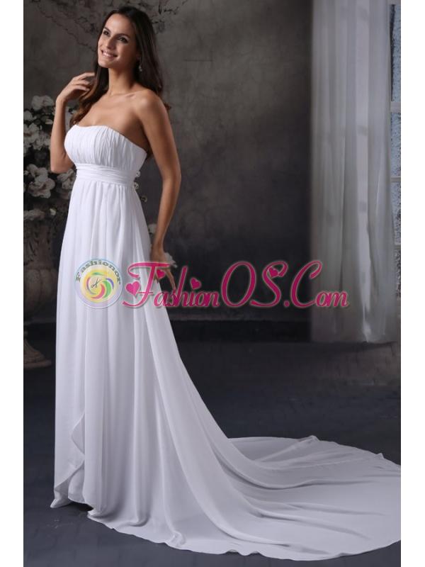 Elegant Empire Strapless Court Train Ruching Wedding Dress with Zipper Up