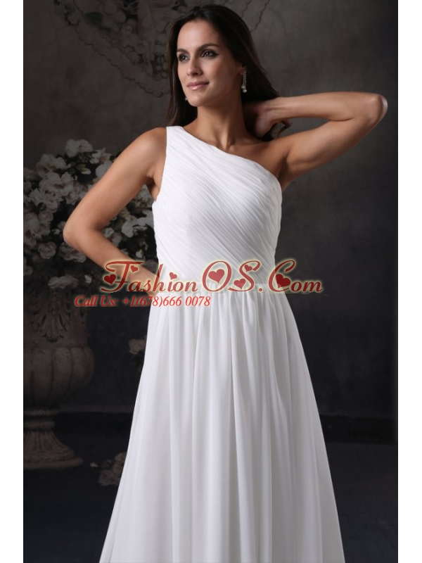 Empire One Shoulder Chiffon Ruching Side Zipper Wedding Dress with Court Train