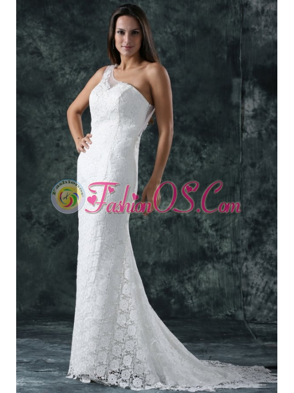Mermaid Embroidery One Shoulder Lace Sweep Train Wedding Dress