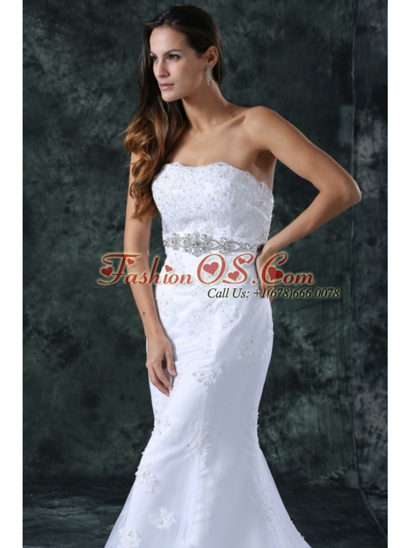 Mermaid Strapless Beading and Lace Tulle and Taffeta Wedding Dress with Court Train