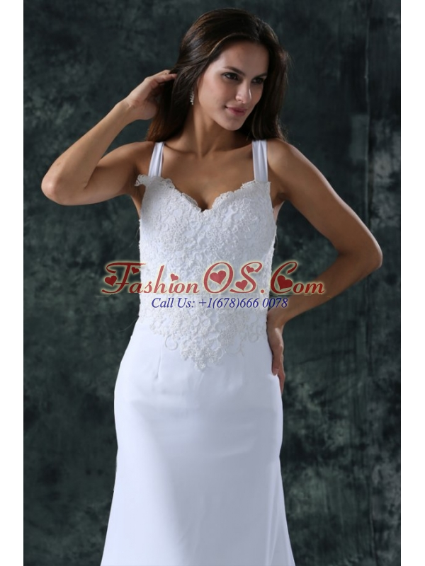 Simple Column Straps Chiffon Brush Train Lace Zipper Up Wedding Dress