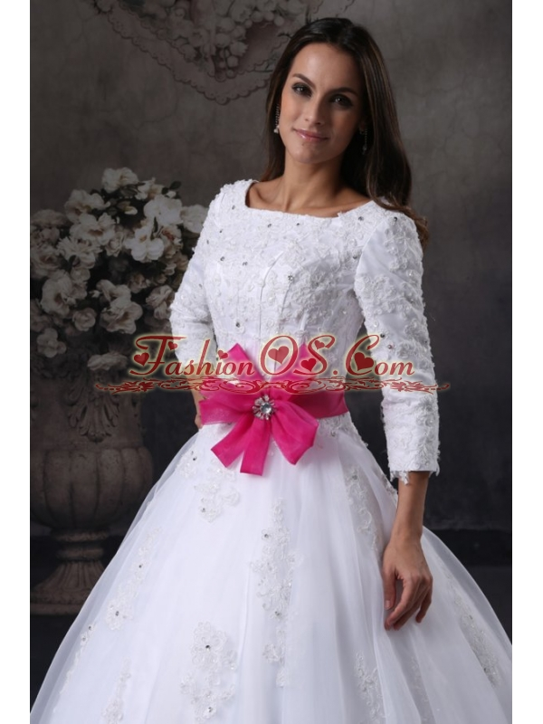 Square A-Line Chapel Train Wedding Dress