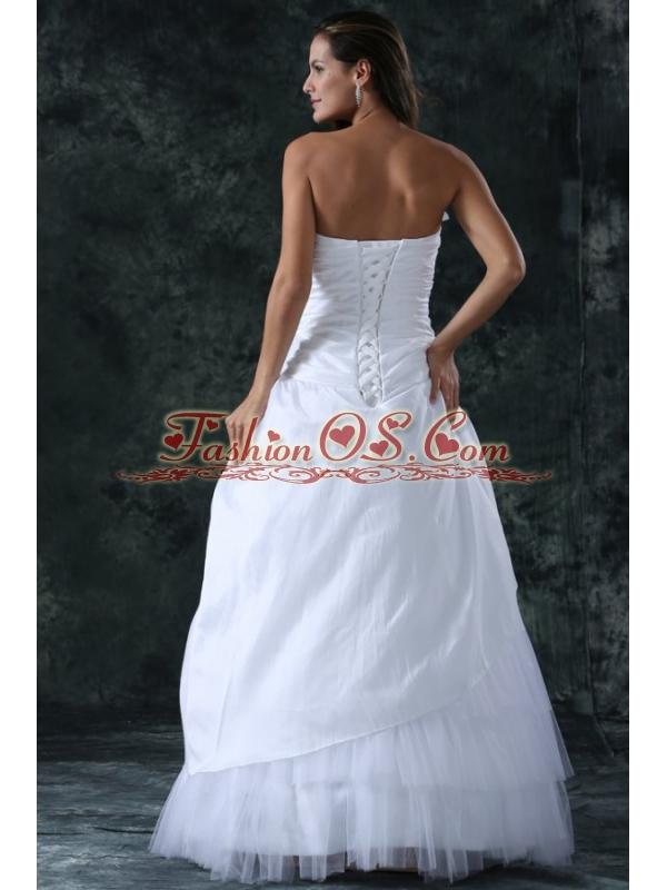 Sweetheart Column Ruche Decorate Floor-length Wedding Dress