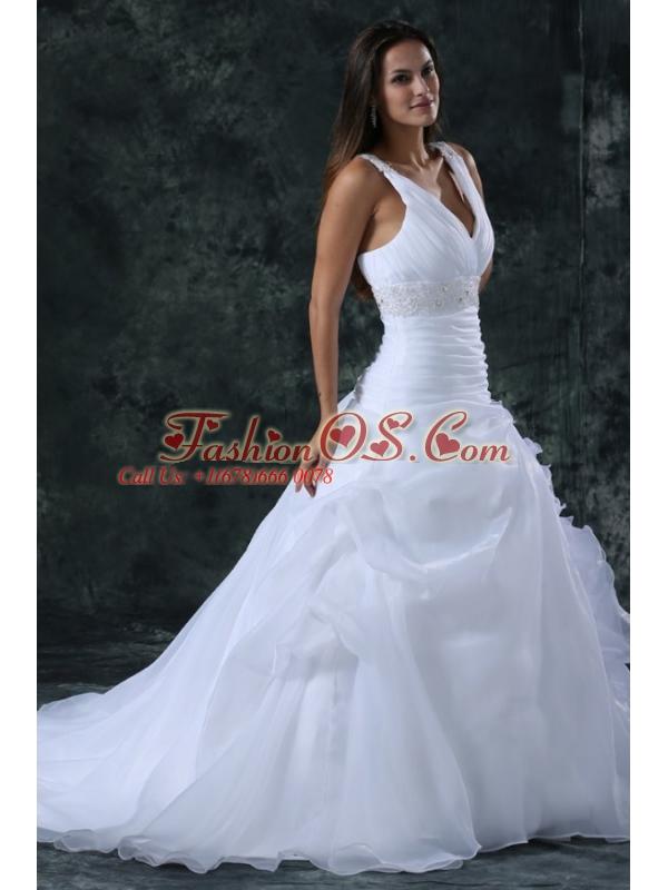 V-neck Appliques and Ruffles Sweep Train Organza Wedding Dress