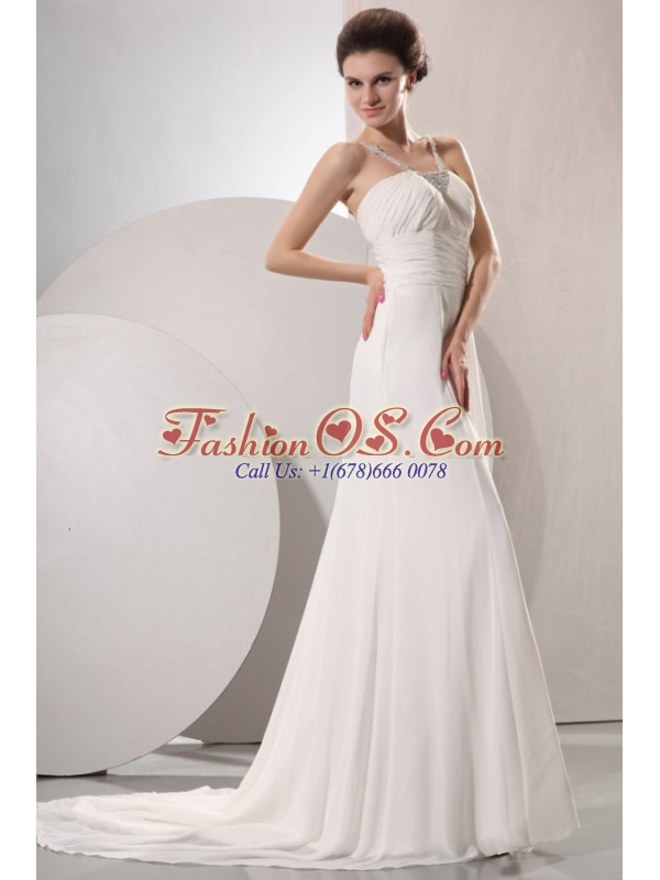 V-neck Empire Chiffon Beaded Decorate Court Train Wedding Dress