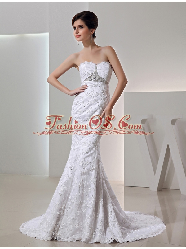 2014 Romantic Mermeid Sweetheart Beading Wedding Dress with Clasp Handle Lace