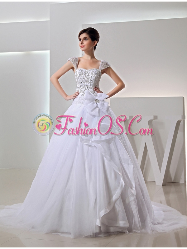 2014 Spring Ball Gown Square Appliques Beading Wedding Dress in White