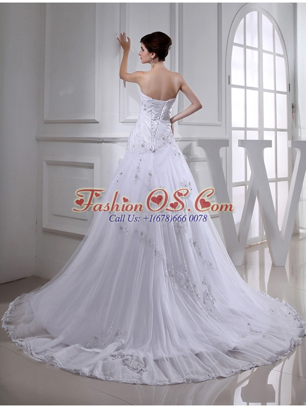 2014 Spring Lace Ball Gown Appliques Wedding Dress with Sweetheart