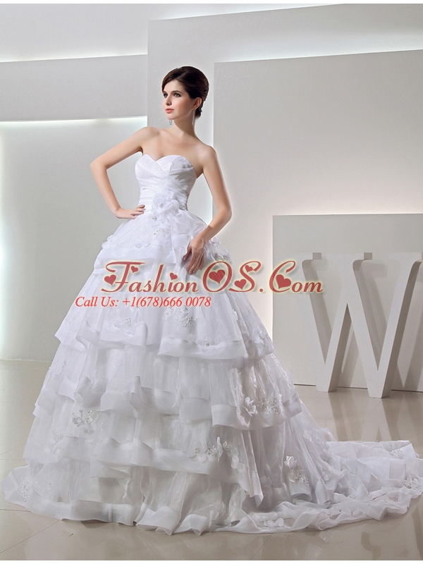 2014 Spring White Ball Gown Sweetheart Paillette Ruffled Layers Wedding Dress