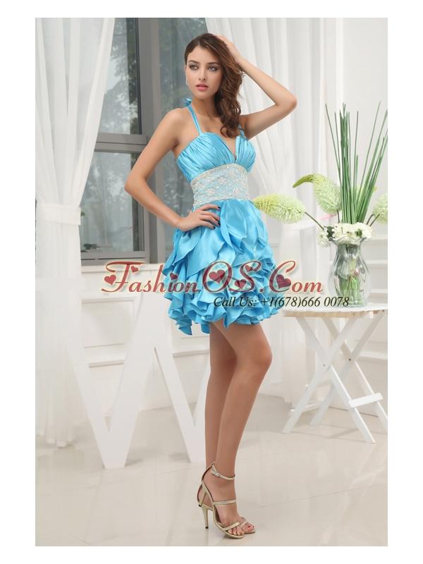 A-line Aqua Blue Halter Top Ruching Ruffles Lace Prom Dress