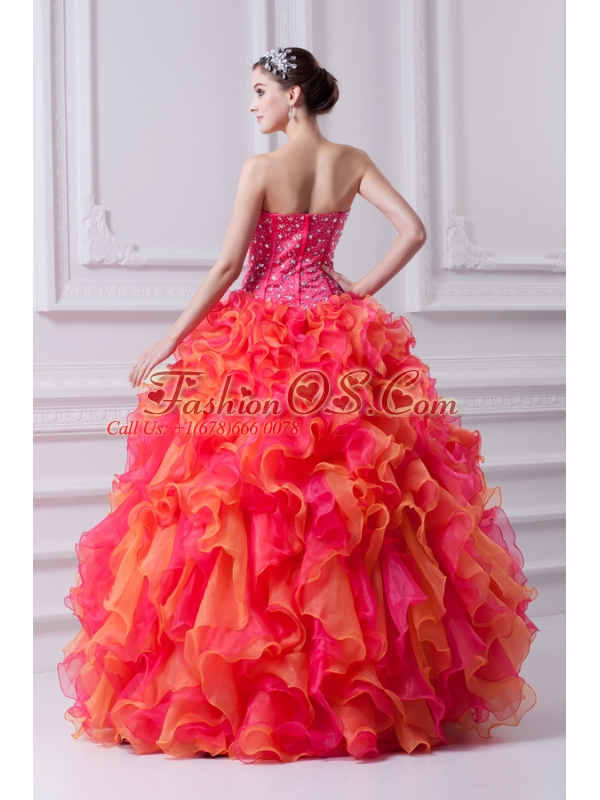 Ball Gown Strapless Organza Beading Ruflles Multi-color Quinceanera Dress