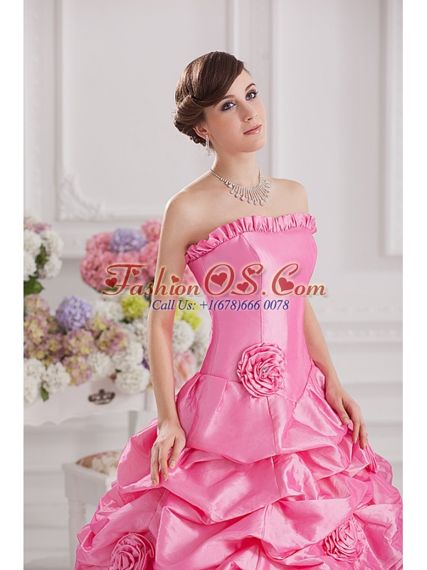 Ball Gown Strapless Pick-ups Rose Pink Quinceanera Dress with Hand Made Flowers