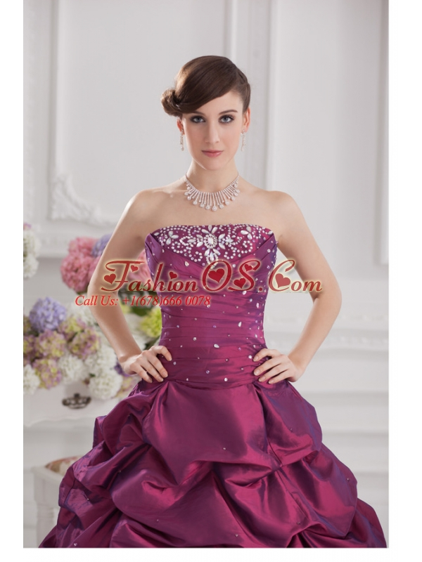 Ball Gown Strapless Taffeta Purple Quinceanera Dress with Beading and Pick-ups