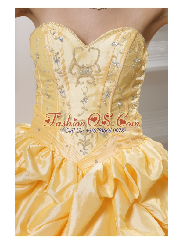 Ball Gown Sweetheart Beading Pick-ups Yellow Quinceanera Dress