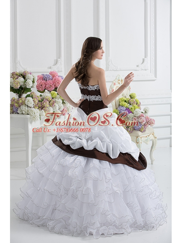 Ball Gown Sweetheart Beading Ruffled Layers Brown and White Quinceanera Dress